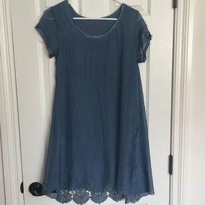 Dresses & Skirts - Blue silk dress sz XS